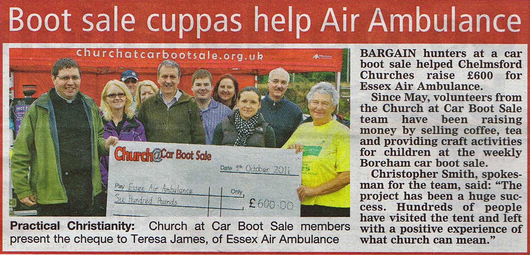 Chelmsford Weekly News Article about Chelmsford Churches Help the Essex Air Ambulance at the Boreham Car Boot Sale