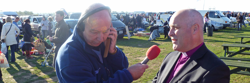 Bishop of Chelmsford Interviewed by BBC Essex at the Boreham Car Boot Sale